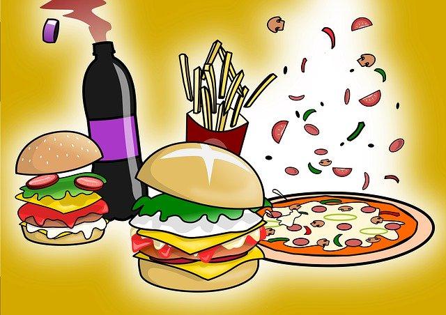 kreslené jídlo z rychlého občerstvení